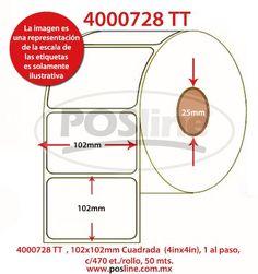 4000728, transferencia termica , 102x102mm, Cuadrada,  (4inx4in), 1 al paso, c/470, etiquetas /rollo, 50 mts., posline