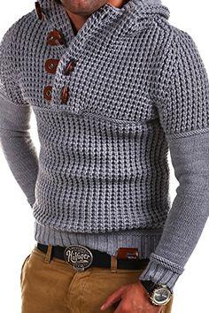 Tazzio Mens knitted Sweater Hoodie Men 14-413 [grey, XL] ...