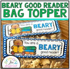 You're A Beary Good Reader Snack Bag Topper by Primary Playground