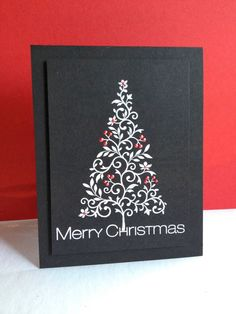 handmade Christmas card: I'm in Haven: White Christmas...Tree ... black card ... white embossed tree with red Liquid Pearls ... dramatic/graphic look ... great card!