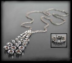 Efektowny kryształowy zestaw biżuterii: długi naszyjnik z trzema rzędami błyszczących kamieni i bransoletka | BIŻUTERIA \ Komplety ZESTAWY \ Biżuteria | Evangarda.pl