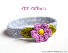 CROCHET PATTERN #1 - Flower Headband (Baby to Adult sizes).