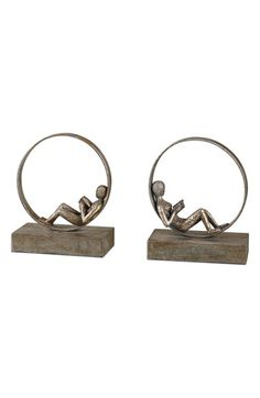 Uttermost 'Lounging Reader' Antiqued Metal Bookends
