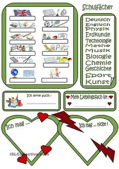 Simply matching activity about school subjects. Students should say which subjects they like and don´t like. Vocabulary Worksheets, School Subjects, Learn German, Weekend Fun, Teaching Materials, Foreign Languages, Projects For Kids, Mathematics, Kids Learning