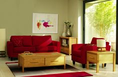 red+and+green+living+room | ... Spaces, Pale Green Living Room with Red Sofa and Compact Furniture