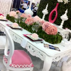 Suggestion: make the moss base slightly lower and place on bride's table to showcase wedding party bouquets, plus a few scattered upright flowers among them. Parisian Party, Sweet Sixteen Parties, Wedding Decorations, Table Decorations, Flower Centerpieces, Wedding Designs, Wedding Ideas, Wedding Events, Weddings