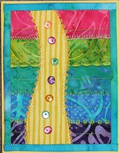 Pretty use of buttons on the road. Fabric Cards, Fabric Postcards, Paper Cards, Colorful Quilts, Small Quilts, Mini Quilts, Fabric Stamping, Fabric Journals, Landscape Quilts
