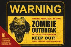 Sign board with zombie. Vector set by RLRRLRLL on @creativemarket