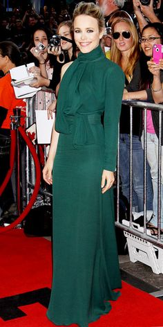 Rachel McAdams in a gorgeous green gown.  I love all shades of green!  Fall 2012