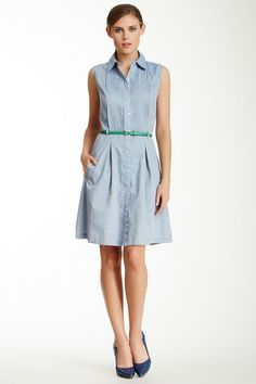 Sharagano Pleated Placket Button Front Dress by SHARAGANO on @HauteLook