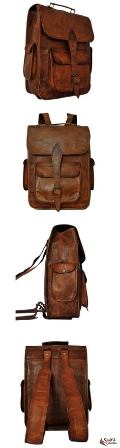 Leather Satchel Backpack 14""