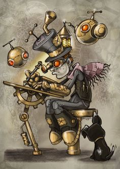 Safari Steampunk Anyone? Steampunk is a rapidly growing subculture of science fiction and fashion. Steampunk Drawing, Steampunk Kunst, Steampunk Artwork, Steampunk Theme, Steampunk Diy, Steampunk Clothing, Steampunk Tattoo Design, Steampunk Makeup, Steampunk Bedroom