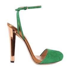 Gucci Delphine High Heel Open-Toe Green Sandals