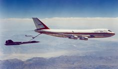 The original 747-100 prototype being used as a test bed for the KC-747 Advanced Tanker-Cargo Aircraft here seen refueling an SR-70