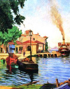 Cevat Erkul, Le débarcadère de Beylerbeyi (Istanbul), 1938