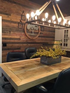 Update your dining room with a beautiful wood wall using BrewPub in Whiskey Barrel by Great American Spaces