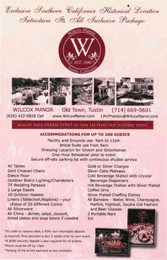 [Opening 2014 Late Summer/ Fall] Wilcox Manor - Old Town, Tustin, CA Venue Information Late Summer, Autumn Summer, All Inclusive Packages, Old Town, Wedding, Old City, Valentines Day Weddings, Weddings, Marriage