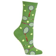 These Women's Tennis sock are a fun and fashionable style best served in pairs. - Approximately Fits Women's Shoe Size 4-10.5. - 52% Cotton, 26% Polyester, 20% Nylon, & 2% Spandex. - Crew Style.