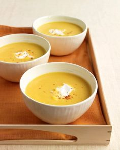 This silky-smooth butternut squash bisque is subtly seasoned with small amounts of thyme, cinnamon, and cayenne pepper. The soup can be frozen for a month and heated slowly on the stove before dinner.