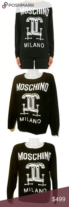 Moschino Milano Couture Large Sweater *FIRM* Firm Price. Authentic Moschino Milano wool sweater made in Italy.  Size large and slightly fitted.  Can be worn as an oversized small or medium if that's your style.  100% wool so there is some slight black fuzzing over the white.  Great condition with no holes, rips, or stains.  C-clamp logo.  The inside Moschino tag label is attached only at the top of the tag.  This is a sold out style so its hard to find.  1st photo is stock photo.  It is dark…