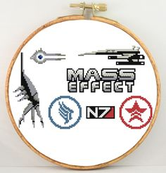 Mass Effect sampler original design cross stitch pattern PDF by KpopStitches on Etsy