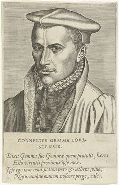 Philips Galle | Portret van Cornelius Gemma, Philips Galle, Benedictus Arias Montanus, Christoffel Plantijn, 1572 | Portret van Cornelius Gemma, de Leuvense arts en en filosoof. Buste naar links. De prent heeft een Latijns onderschrift en maakt deel uit van een serie van beroemde Europese geleerden.