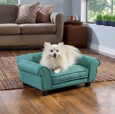 Small Sofa Pet Bed Dog Teal Linen Tufted Removable Pad Soft Cushion