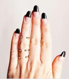 Almond shaped nails with black tips? The definition of a modern manicure. #Black #Manicure #StudioRK