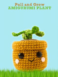 Pull and Grow Amigurumi Plant This sweet little potted plant is a fun and easy interactive toy to crochet! Pulling on the leaves makes him grow from a little seedling to a tall proud plant. With a new beginning each time he grows, he'll inspire smiles and giggles from children and adults alike!
