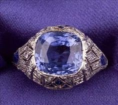 Art Deco Platinum, Sapphire, and Diamond Ring by shauna