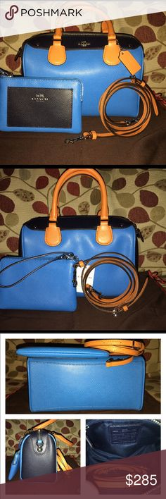 "NWT Mini Ciach Bennett & Wristlet New Mini Coach Bennett & Wristlet in 2 Tone Blue/Navy Blue with Luggage Color Rolled Handles & trim! The tote has 1 zip, 1 slip pocket  & leather adjustable/attachable strap for option if Shoulder or Crossbody wear with gold hardware! Double handle drop is 4.5"" the tote measures 9.5 X 6.5 X 4 the Wristlet has 2 slots for cards, the exterior has a slip pocket in front & gold hardware it measures 6 X 4 includes care cards & dust bag no trades price firm Coach…"