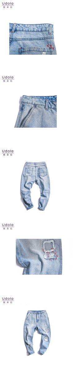 2018 Spring Vintage Ripped Patchwork Mens Denim Light Blue  Loose Hip Hop Harem Pants  Male Trousers 164105