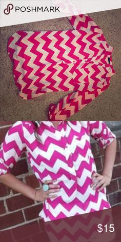 pink and white chevron shirt Only worn few times. Excellent condition! Kind of tight on my chest (34dd) but really comfortable. Tops Blouses