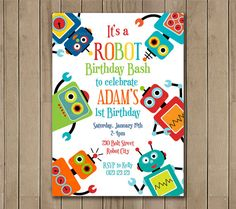 Fun Robot Birthday Invitation Printable by TracyAnnPrintables