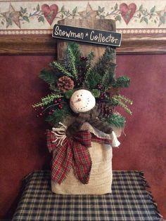 Snowman barnwood wall hanging