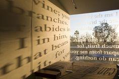 """Scripture windows"" inside the Talbot East building"