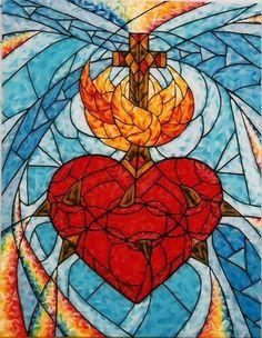 Catholic Art, Religious Art, Jesus E Maria, Heart Of Jesus, Jesus Art, Jesus Pictures, Cross Paintings, Sacred Art, Heart Art