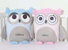 Owl Decorative Owl Pillow Case and Cushion Gray Pink Blue USD) by Customquiltsbyeva Best Friend Gifts, Gifts For Friends, Gifts For Kids, Owl Pillow, Vintage Owl, Friendship Gifts, Fabric Dolls, Handmade Items, Handmade Gifts