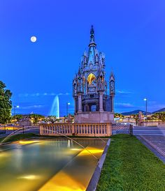 Brunswick monument and fountain, Geneva, Switzerland, HDR by Elenarts - Elena Duvernay photo Places In Switzerland, Geneva Switzerland, Geneva City, Famous Places, Old World, Statue Of Liberty, Travel Photos, Fine Art America, Fountain