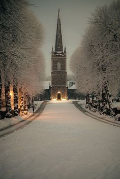 Hillsborough Parish Church, Ireland [ I would love to see this in person some day. Ireland is one of my ultimate dream vacations. I been to this church a couple of times, but never been during winter. Places Around The World, The Places Youll Go, Places To See, Around The Worlds, Winter Szenen, Winter Night, Winter Time, Winter Road, Winter Sunset