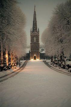 {Flixelpix} David - Hillsborough Parish Church at Night (in Winter)
