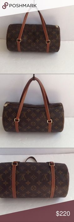 Authentic Louis Vuitton Papillon 26 Monogram Bag. Leather and straps showed light of used. The bag was made in France. No date code as the bag was made before 1980. The dimension 7 and 10. The canvas and inside linen are good condition. Louis Vuitton Bags Satchels