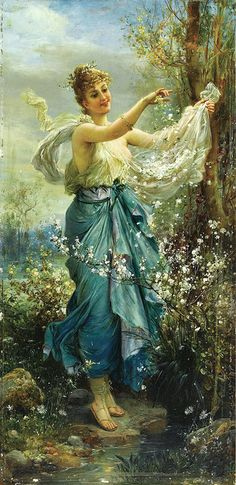 Girl with Flowers, by Hans Zatzka