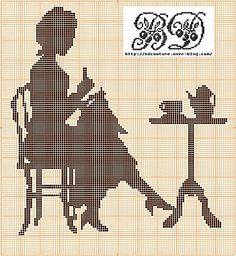 Lady stitching silhouette free cross stitch pattern