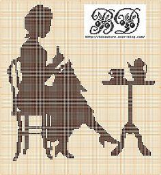 Lady stitching silhouette free cross stitch pattern