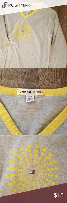 Tommy Hilfiger Night Shirt Size S Tommy Hilfiger Night Shirt  Size: S  Gray and yellow  Gently loved with no signs of wear Tommy Hilfiger Intimates & Sleepwear Pajamas