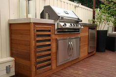 Timber & Stainless Steel Built-in BBQ