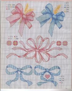 _ponto_cruz: Ties and bows! Cross Stitch For Kids, Cute Cross Stitch, Cross Stitch Borders, Cross Stitch Charts, Cross Stitch Designs, Cross Stitching, Cross Stitch Embroidery, Embroidery Patterns, Hand Embroidery