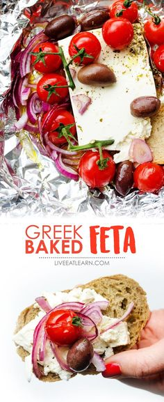This Greek Baked Feta recipe takes everything delicious about Greek salad and throws it in the oven for a few minutes! Warm and spreadable feta with bursted tomatoes, olives, and red onion. The perfect gluten-free side dish or appetizer recipe for your summer dinner or meal. // Live Eat Learn