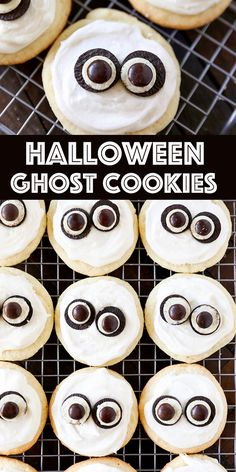 Easy Ghost Cookies Easy Ghost Cookies turn homemade frosted sugar cookies into adorable Ghost Cookies by adding Oreo Mini cookies and M&MS. Such a cute Halloween cookie recipe! Source by lovefromtheoven Halloween Cookie Recipes, Halloween Cookies, Halloween Treats, Diy Halloween, Holiday Recipes, Halloween 2020, Fall Recipes, Ghost Cookies, Mini Cookies